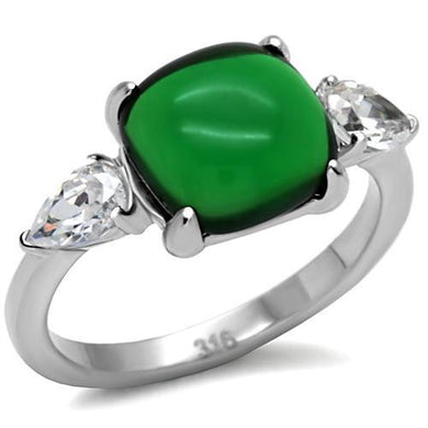 TK087 - High polished (no plating) Stainless Steel Ring with Synthetic Synthetic Glass in Emerald