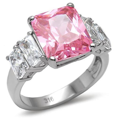TK088 - High polished (no plating) Stainless Steel Ring with AAA Grade CZ  in Rose