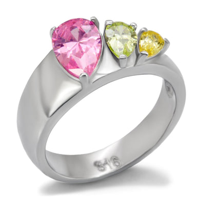 TK091 - High polished (no plating) Stainless Steel Ring with AAA Grade CZ  in Multi Color