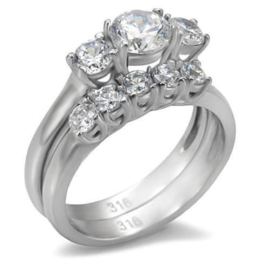TK098 - High polished (no plating) Stainless Steel Ring with AAA Grade CZ  in Clear