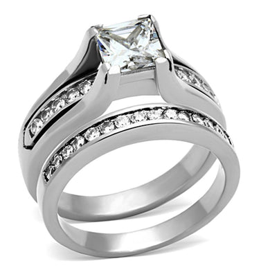 TK0W383 - High polished (no plating) Stainless Steel Ring with AAA Grade CZ  in Clear