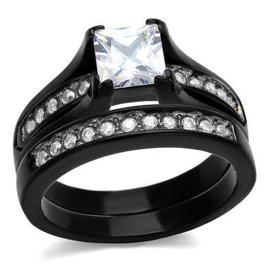 TK0W383J - Two-Tone IP Black Stainless Steel Ring with AAA Grade CZ  in Clear