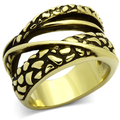 TK1025 - IP Gold(Ion Plating) Stainless Steel Ring with No Stone