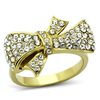 TK1032 - IP Gold(Ion Plating) Stainless Steel Ring with Top Grade Crystal  in Clear