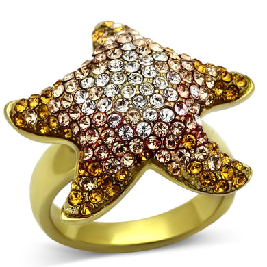 TK1034 - IP Gold(Ion Plating) Stainless Steel Ring with Top Grade Crystal  in Multi Color