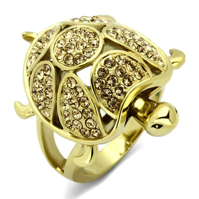 TK1035 - IP Gold(Ion Plating) Stainless Steel Ring with Top Grade Crystal  in Citrine Yellow