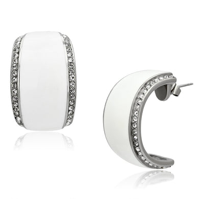 TK1046 - High polished (no plating) Stainless Steel Earrings with Top Grade Crystal  in Clear