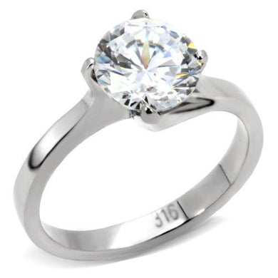 TK104 - High polished (no plating) Stainless Steel Ring with AAA Grade CZ  in Clear