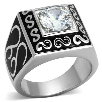 TK1050 - High polished (no plating) Stainless Steel Ring with AAA Grade CZ  in Clear
