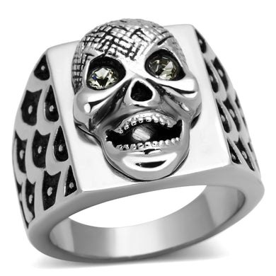 TK1056 - High polished (no plating) Stainless Steel Ring with Top Grade Crystal  in Black Diamond