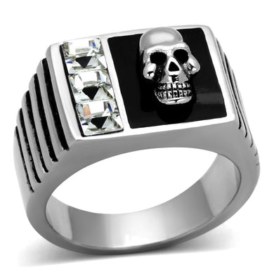 TK1057 - High polished (no plating) Stainless Steel Ring with Top Grade Crystal  in Clear