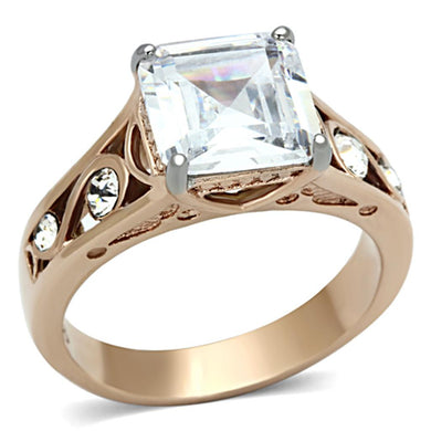 TK1059 - Two-Tone IP Rose Gold Stainless Steel Ring with AAA Grade CZ  in Clear