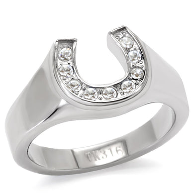TK10616 - High polished (no plating) Stainless Steel Ring with Top Grade Crystal  in Clear