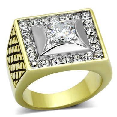 TK1061 - Two-Tone IP Gold (Ion Plating) Stainless Steel Ring with AAA Grade CZ  in Clear