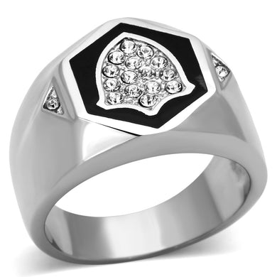 TK1069 - High polished (no plating) Stainless Steel Ring with Top Grade Crystal  in Clear
