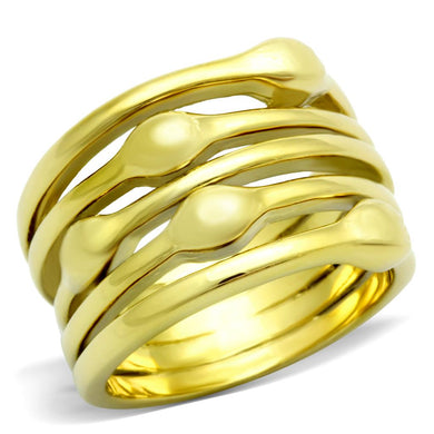 TK106G - IP Gold(Ion Plating) Stainless Steel Ring with No Stone