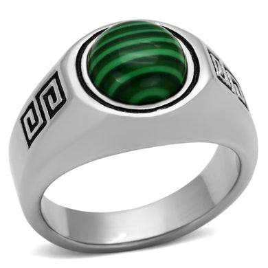 TK1070 - High polished (no plating) Stainless Steel Ring with Synthetic MALACHITE in Emerald