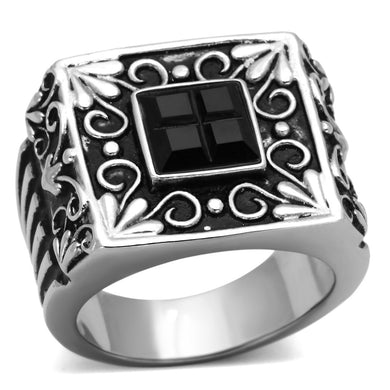 TK1074 - High polished (no plating) Stainless Steel Ring with Synthetic Synthetic Glass in Jet