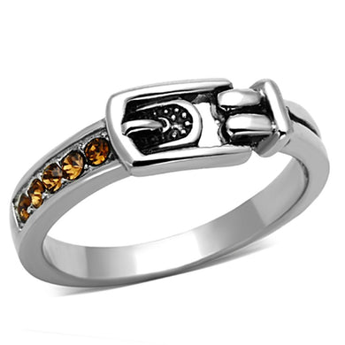 TK1079 - High polished (no plating) Stainless Steel Ring with Top Grade Crystal  in Smoked Quartz