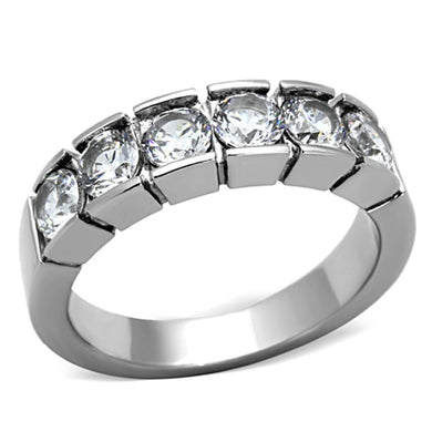 TK1082 - High polished (no plating) Stainless Steel Ring with AAA Grade CZ  in Clear