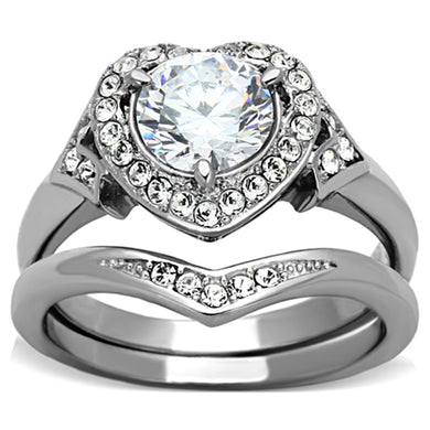 TK1087 - High polished (no plating) Stainless Steel Ring with AAA Grade CZ  in Clear