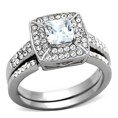 TK1088 - High polished (no plating) Stainless Steel Ring with AAA Grade CZ  in Clear