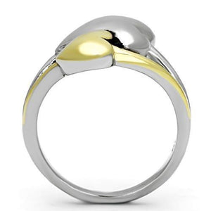 TK1091 - Two-Tone IP Gold (Ion Plating) Stainless Steel Ring with No Stone