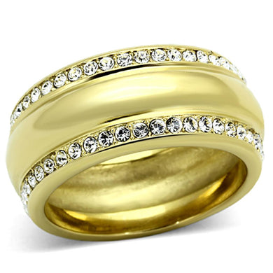 TK1096 - IP Gold(Ion Plating) Stainless Steel Ring with Top Grade Crystal  in Clear