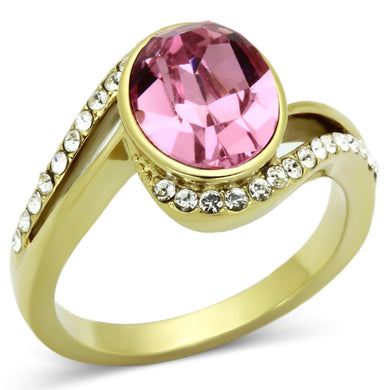 TK1097 - IP Gold(Ion Plating) Stainless Steel Ring with Top Grade Crystal  in Rose