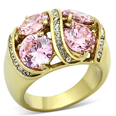 TK1099 - IP Gold(Ion Plating) Stainless Steel Ring with AAA Grade CZ  in Rose