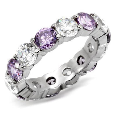 TK109 - High polished (no plating) Stainless Steel Ring with AAA Grade CZ  in Amethyst