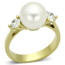 Load image into Gallery viewer, TK1103 - IP Gold(Ion Plating) Stainless Steel Ring with Synthetic Pearl in White