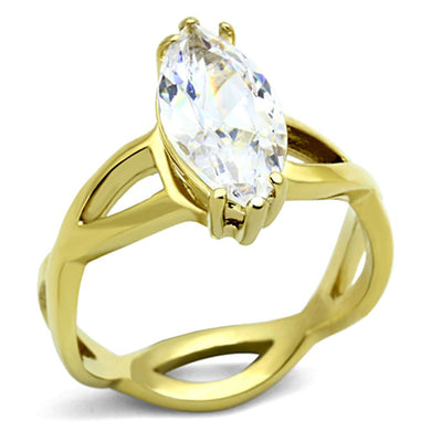 TK1106 - IP Gold(Ion Plating) Stainless Steel Ring with AAA Grade CZ  in Clear