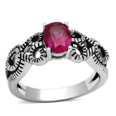 TK1112 - High polished (no plating) Stainless Steel Ring with AAA Grade CZ  in Ruby