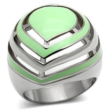 TK1140 - High polished (no plating) Stainless Steel Ring with Epoxy  in Emerald