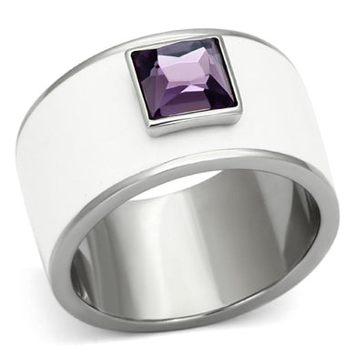 TK1142 - High polished (no plating) Stainless Steel Ring with Synthetic Synthetic Glass in Amethyst