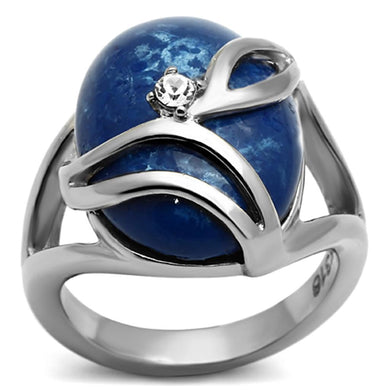 TK1144 - High polished (no plating) Stainless Steel Ring with Synthetic Synthetic Stone in Capri Blue