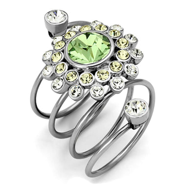 TK1148 - High polished (no plating) Stainless Steel Ring with Top Grade Crystal  in Peridot