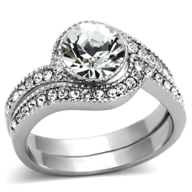 TK1155 - High polished (no plating) Stainless Steel Ring with Top Grade Crystal  in Clear
