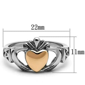 TK1156 - Two-Tone IP Rose Gold Stainless Steel Ring with No Stone