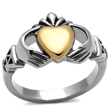 TK1157 - Two-Tone IP Gold (Ion Plating) Stainless Steel Ring with No Stone