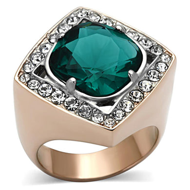 TK1160 - Two-Tone IP Rose Gold Stainless Steel Ring with Synthetic Synthetic Glass in Blue Zircon
