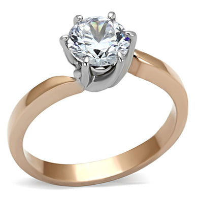 TK1161 - Two-Tone IP Rose Gold Stainless Steel Ring with AAA Grade CZ  in Clear