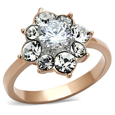 TK1168 - Two-Tone IP Rose Gold Stainless Steel Ring with AAA Grade CZ  in Clear