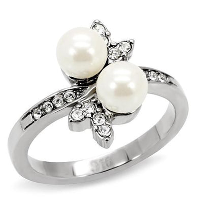 TK116 - High polished (no plating) Stainless Steel Ring with Synthetic Pearl in White