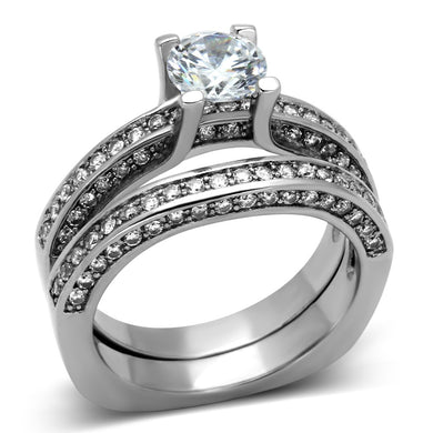 TK1175 - High polished (no plating) Stainless Steel Ring with AAA Grade CZ  in Clear