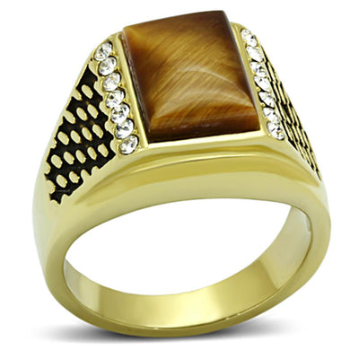 TK1187 - IP Gold(Ion Plating) Stainless Steel Ring with Synthetic Tiger Eye in Topaz