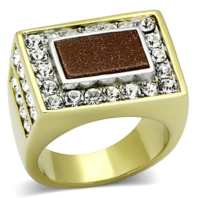 TK1194 - Two-Tone IP Gold (Ion Plating) Stainless Steel Ring with Synthetic Twinkling in Topaz