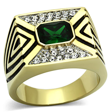TK1195 - Two-Tone IP Gold (Ion Plating) Stainless Steel Ring with Synthetic Synthetic Glass in Emerald