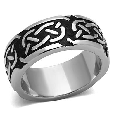 TK1197 - High polished (no plating) Stainless Steel Ring with Epoxy  in Jet